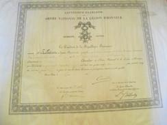 Diplôme/Chevalier /RF/ Ordre National  Légion D'Honneur/PELLETIER/Capitaine/Clermont-Ferrand/Frasne Jura/1888     DIP190 - Diplomi E Pagelle