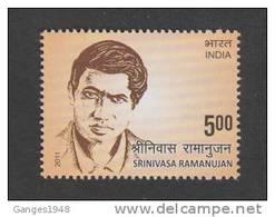 India 2011  - 5oo  SRINIVASAN RAMANUJAN  Mathmatician Scientist   # 32467 S Inde Indien