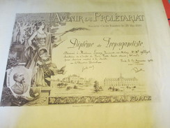 Diplôme/Propagandiste/L'Avenir Du Prolétariat/Société Civile/Comité De Paris/Fernande LAMY/Boire Fondateur/1927   DIP191 - Diplomi E Pagelle