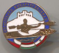 Rowing, Rudern, Canu, Kayak - CHAMPIONSHIP, 1958. Bratislava, Budapest, Belgrade, Enamel, Vintage Pin, Badge, Abzeichen - Canoeing, Kayak