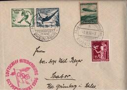 ! 1936, Zeppelin Brief, Beleg, LZ 129 Luftschiff Hindenburg, Olympiafahrt, Frankfurt, Berlin, Sabor In Schlesien, - Poste Aérienne