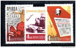 Y1775 - RUSSIA URSS 1962 , Serie Un. 2516/18  ** MNH. Pravda