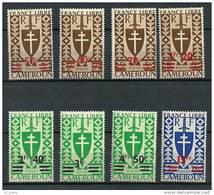 """Cameroun YT 266 à 273 """" Série De Londres Surchargée , 8 TP """"  1945 Neuf*"""