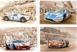 Ford Aux 24 Heures Du Mans  -  Art Cartes Par Francois Bruère  -  4 X CPM - Le Mans