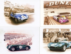 Jaguar Aux 24 Heures Du Mans  -  Art Cartes Par Francois Bruère  -  4 X CPM - Le Mans
