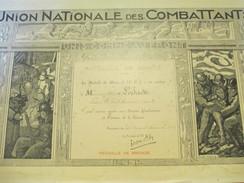 Diplôme/Médaille De Bronze/Union Nationale Des Combattants/LEDAIN/Section Pont Audemer/Eure/1936 DIP195 - Diplomi E Pagelle