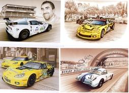 Corvette Aux 24 Heures Du Mans  -  Art Cartes Par Francois Bruère  -  4 X CPM - Le Mans