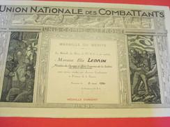 Diplôme/Médaille D'Argent/Union Nationale Des Combattants/LEDAIN/Section Pont Audemer/Eure/1954                   DIP196 - Diplomi E Pagelle
