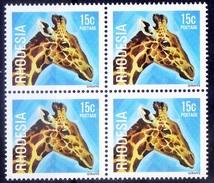 Rhodesia MNH Blk Of 4, Wild Animals, Giraffe