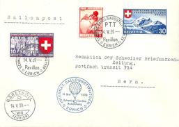 """Sonderbrief  """"Internat.Ballonwettfliegen Zürich - Schweiz.Landesausstellung""""                 1939"""