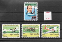 Avion Santos-Dumont -  Cambodge N°1130 à 1133 1993 O - Airplanes