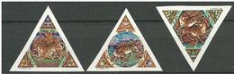 MONGOLIA 1998 Year Of Tiger Lunar Animals Fauna Imperforated Odd Shape 3v Triangular Stamps 3v