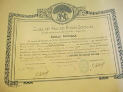 Diplôme/Ecole Hautes Etudes Sociales/rue Notre Dame Des Champs/Ecole Sociale/SABOUREAU/Niort/ Deux Sévres/1944    DIP200 - Diplomi E Pagelle