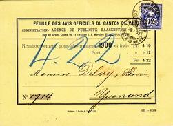 Remboursement  Pour 1900: Feuille Avis Officiels Du Canton De VD / 23.1.1900. Cachet Arrivée Yvonand - 1882-1906 Armoiries, Helvetia Debout & UPU