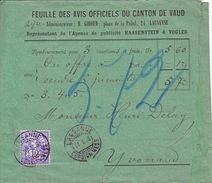 2 Remboursement  Feuille Avis Officiels Du Canton De VD. Timbre N° 62 Bb & 62 B (Mi.55Yd & 55Y) . 21.1.1998 - 1882-1906 Armoiries, Helvetia Debout & UPU