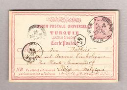 Türkei SAMSOUN 21.10.1892 Ganzsache Nach Liege Belgien Transit Constantinople-Galata - Lettres & Documents