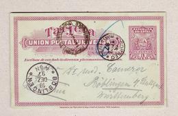 Uruguay Ganzsachen-Karte 3c Montevideo 15.11.1897 Nach Böblingen - Uruguay