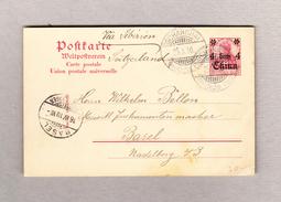 D Germania Ganzsache 4cents China Aufdruck Von Schanghai 29.3.1910 Nach Basel - Offices: China