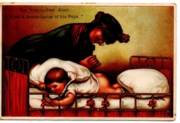 Near-Sighted Aunt, Confuses Baby's Bare Bum & Papa's Bald Head, Pre-1920 Postcard - Bandes Dessinées