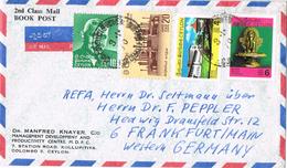 23266. Carta Aerea COLOMBO (ceylon) 1970 To Germany. Book Post