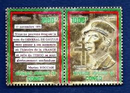 GENERAL DE GAULLE- CONGO- DOUBLE TIMBRE  GAUFRÉ DENTELÉ OR BRILLANT ET POLYCHROME DONT TEXTE-  POSTE AÉRIENNE- NEUF** - De Gaulle (General)