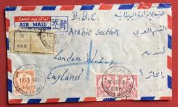 LIBIA LIBYA AEROGRAMMA  RACCOMANDATO REGISTERED DA BENINA  A LONDON B.B.C.  IN DATA 10/3/1960 - Libya