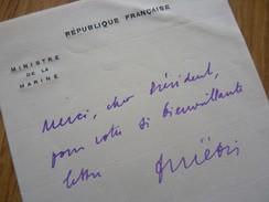 François PIETRI (1882-1966) Député Bastia CORSE. Ministre MARINE, COLONIES, FINANCES ... Autographe - Autographes