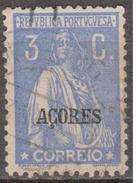 "AÇORES-1924-1928, Tipo «CERES». Selos Do Cont. C/ Sobrec. "" AÇORES "" 3 C.  D. 12x11 1/2 ( P. Liso )   (o) Afinsa Nº 199"