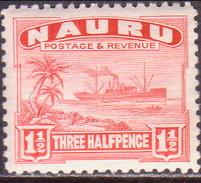 NAURU 1937 SG #28B 1½d MLH Shiny Surfaced, White Paper