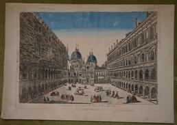 Vue D'optique XVIIIème - Italie - Vue Perspective De L'intérieur Du Palais Des Doges De Venise - Prenten & Gravure