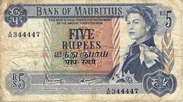 MAURITIUS 5 RUPEES ND (1973) P-30c AVF S/N A/46 344447 [MU401c] - Mauritius