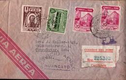 ! 1947 Peru Airmail Cover, Huancayo, Lima, Washington, , Oberuster Bei Zürich, Schweiz, Luftpost, Aereo - Peru