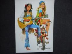 CP - VIVE SAINTE CATHERINE - Couple De HIPPIES Sur Mobylette Avec Guitare - Sint Catharina