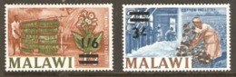 Malawi 1965 SG 236-7 Surcharges  Unmounted Mint
