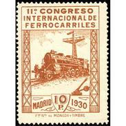 ES481FSGDEV-LFT***481F.España.Spa In.Espagne. CONGRESO  DE.FERROCARRILES.1930  (Ed 481F**),sin Charnela.