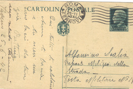 Entier Carte Postale Oblitérée  1942 Roma Ferrovia Pour Posta Militare N° 14 .  ( Pliure Centrale ) - Entero Postal