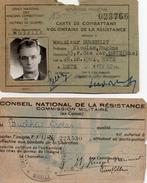 CARTE DE COMBATTANT FFI  -  VOLONTAIRE DE LA RESISTANCE + CONSEIL NATIONAL DE LA RESISTANCE N° INSIGNE FFI 223530