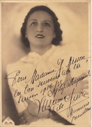 Grande Photo Autographe Suzanne De Gavre Chanson Opéra La Monnaie 1936 Pour Madame Misson 23x17cm - Autógrafos