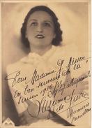 Grande Photo Autographe Suzanne De Gavre Chanson Opéra La Monnaie 1936 Pour Madame Misson 23x17cm