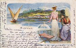1902 Mode Féminine Entre Lausanne Et Evian. Lithographie 23.2.1902.Cachet Lame De Rasoir Lausanne.précurseur - Mode