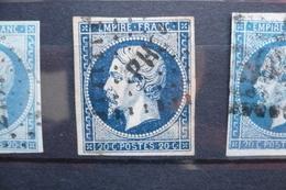 Napoléon 20c  Bleu Noir (ou Très Foncé)  N°14  Ambulant PH - 1853-1860 Napoléon III