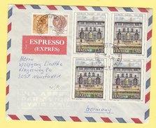 1976 - Espresso Per La Germania Con Sirac. 30+100L + Quartina Giorgio Vasari - 1971-80: Storia Postale