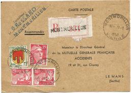 GANDON 15FR ROUGEX3+2FR CARTE REC MONTMORILLON 31.1.1950 VIENNE AU TARIF