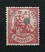 SPAGNA 1874 - Telegrafos - Alegoria De La Justicia - 4 P. Carminio - Edifil 151T - 1873-74 Reggenza