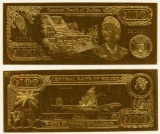 1984 // BELIZE //  100 $ // Gold Leaf 22 Carats // UNC - Belize