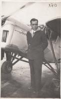 Militaria -  Aviateur Devant Avion - Photo André Le Bourget - 1919-1938: Entre Guerres