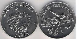 Cuba 1 Peso 1986 Ice Skating Calgary 1988 Olympic Games Canada UNC - Cuba