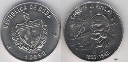 Cuba 1 Peso 1988 Carlos J. Finlay 1833 Copper Nickel UNC - Cuba