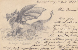 Selbst Gemachte AK Mit Originalzeichnung - 1899 - (int.f.Geschichte Der AK)    (PA-17-140828-x) - Illustrators & Photographers