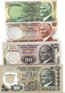 TURKEY 10 20 50 100 TURK LIRASI L.1970 (1975-1983) P-186a UNC SET [TR263c] - Turkey